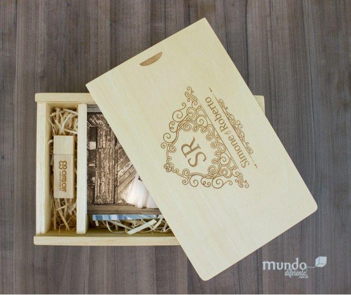 Memory Box Caixa de madeira Personalizada para Fotos 10x15 e porta pendrive