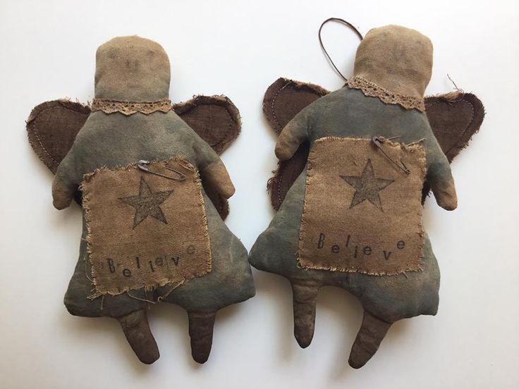 Sweet Liberty Homestead primitive doll. Christmas angel tree topper.
