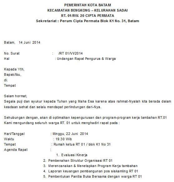 Contoh Surat Pemberitahuan Kegiatan Rt Paling Lengkap Untuk Kerja Bakti Rapat Dan Pertemuan Rutin Surat Undangan Pemerintah