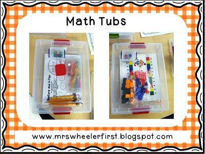 Mrs. Wheeler's First Grade Tidbits: Weekly Math Tubs