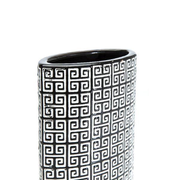 Βάζο Ladyrinth Black & White 26 Υπέροχο πήλινο βάζο με γεωμετρικό σχέδιο σε ασπρόμαυρο χρώμα με γυαλιστερό φινίρισμα.