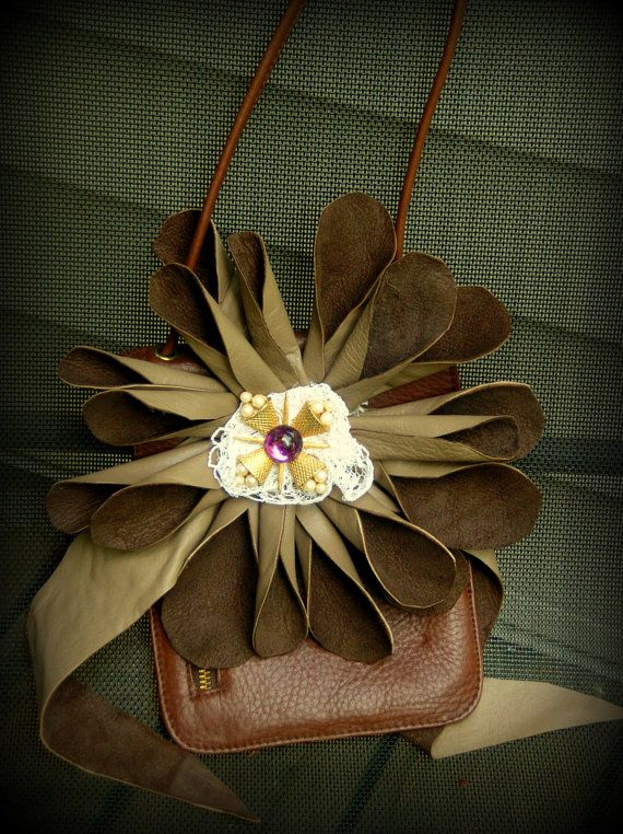 Bohemian One of a Kind Leather Small Envelope by JacketsbyJahne, $75.00: Small Envelopes, Leather Small, Kind Leather, Upcycled Flowers, Envelopes Purses, Handbags Upcycled, Purses Bags, Bags Handbags