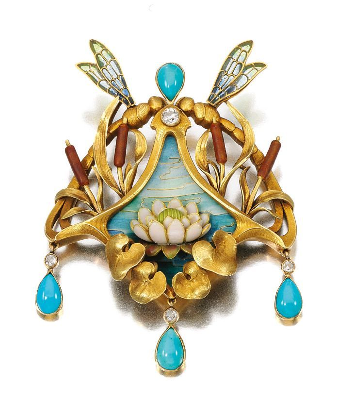 Gold, turquoise, enamel, and diamond brooch-pendant, G.R. Sandoz, circa 1900: