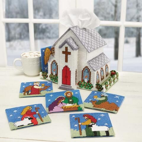 Craftways® Christmas Church Tissue Box Cover with Coasters Plastic Canvas Kit Was: $25.00                     Now: $19.99