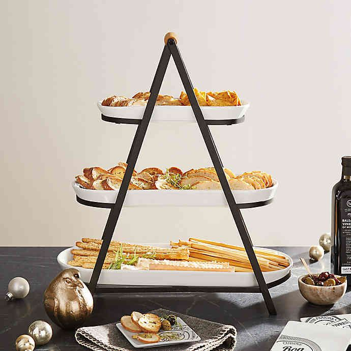 3 Tier Oblong Ceramic Server In White Bed Bath Beyond In 2020 Tiered Serving Trays Serving Tray Wood Serving Platter Ideas