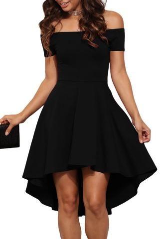 Robes de Cocktail Noire Epaules Denudees Manches Courtes