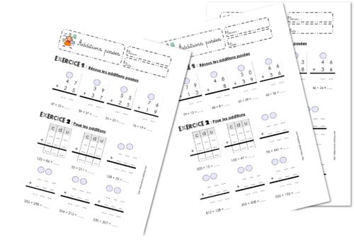 Additions posées avec retenue | Maths ce1, Soustraction posée et Activités de mathématiques