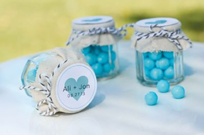 Fabric Covered Favor Jars: These adorable fabric covered jars are a wonderful favor for your special day. In two easy steps you can create a token of your appreciation that your wedding guests will love!
