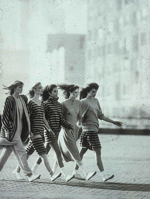 """""""Five Girls Walking, Upper East Side Manhattan"""" (1981) by Steven Landis for Norma Kamali's """"Sweats"""" line (via)"""