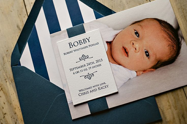 Photo + Letterpress birth announcement, birth announcement for boys, navy blue birth announcement
