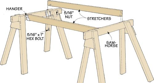 Cabinet Plans Knock-Down Work Support-Uses Sawhorses and Joist Hangers