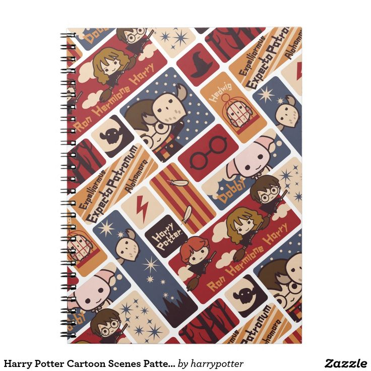 Harry Potter Cartoon Scenes Pattern. Regalo, gift. #cuaderno #notebook