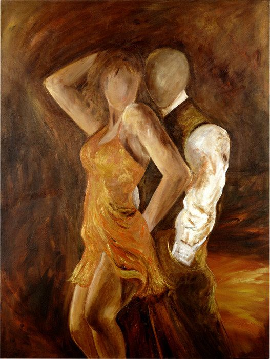 Tango painting, dance painting, Samba limited edition Giclee , Contemporary art, Dancers in gold and bronze with earth tone background,30x40