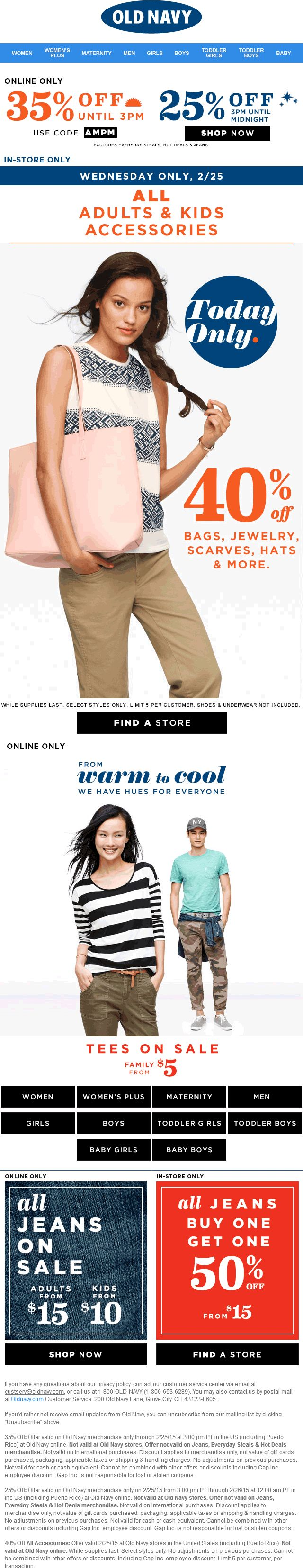 Pinned February 25th: 40% off accessories today at #OldNavy or 35% off online via promo code AMPM #coupon via The #Coupons App