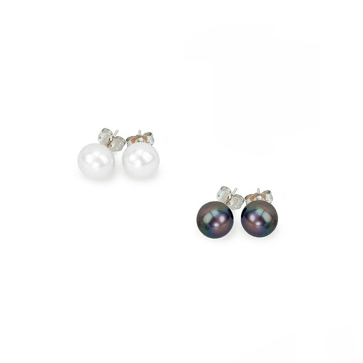 Set 2 cercei Sakura Pearl argint cu perle de cultură 9 mm alb, negru