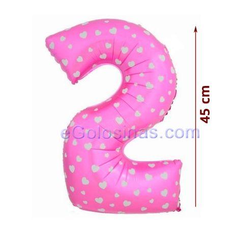 GLOBO con forma denúmero 2 para celebrar el Cumpleaños de tu Bebé. Mide 45cm de alto y 29 cm de ancho aprox. Es perfecto para decorar un baby shower de niña.  Los globos se venden sin inflar.Puedes inflarlo con aire o con helio. Para que se floten en el aire deberán rellenarse con helio.  GLOBO con forma denúmero 2 para celebrar el Cumpleaños de tu Bebé. Mide 45cm de alto y 29 cm de ancho aprox. Es perfecto para decorar un baby shower de niña.  Los globos se venden sin inflar.Puedes…