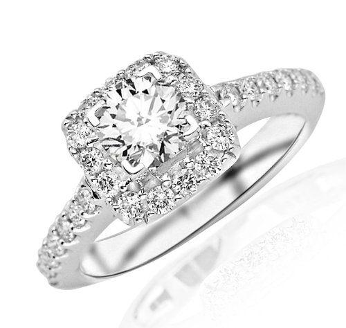 1.49 Carat Round Cut Square Halo Diamond Engagement Ring (I-J Color, I1 Clarity)