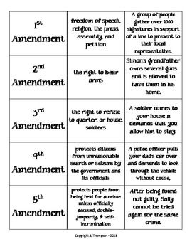 Bill Of Rights I Have Who Has Game Teacherspayteachers Com