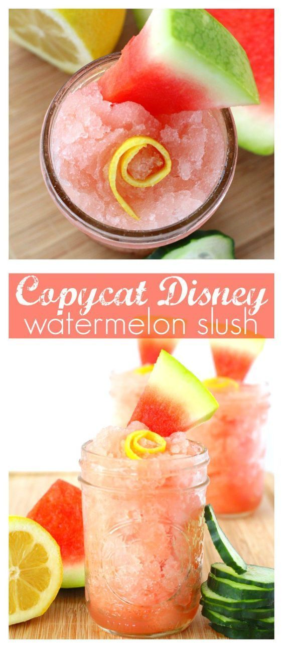 Copycat Disney Watermelon Slush Recipe   Make this Epcot Flower & Garden Festival drink favorite at home! Allergy & family-friendly too - perfect drink for spring and summer movie nights!