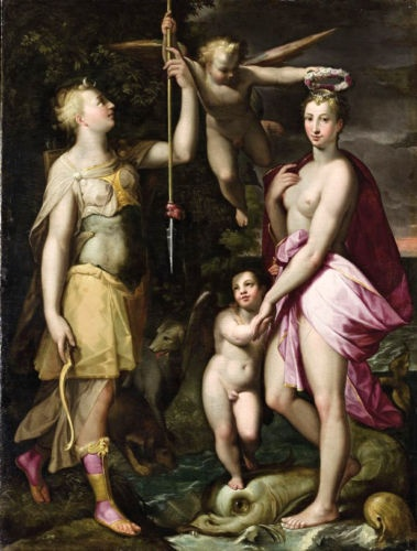 Apotheosis of Venus and Diana with angel cupid