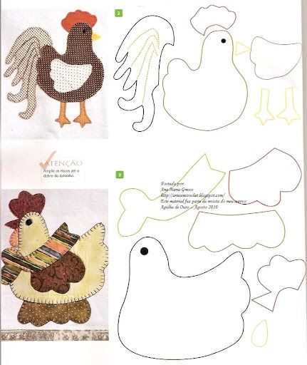 ♥ Applique pattern: galline - chicken