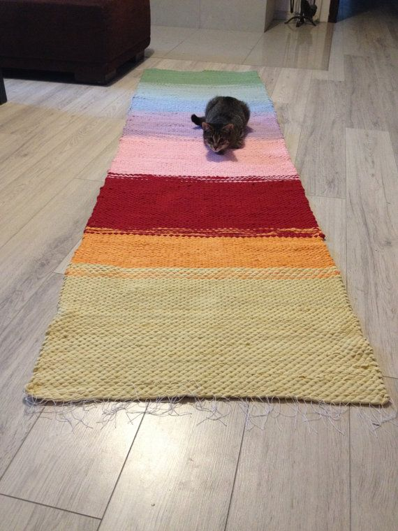 Woven Rug/Large Rag Rug/loom woven rag rugs/shaggy rug/recycled rugs/Handmade woven Rug/Colorful Scraps/Hand Woven Chindi/Rainbow/Multicolor