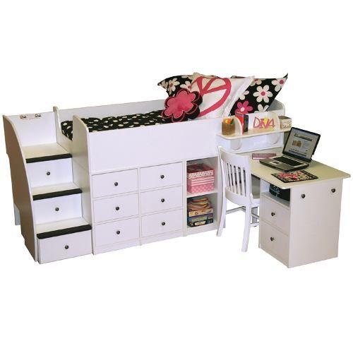 Cama con escalera cajonera escritorio cajones camas - Camas con escritorio ...