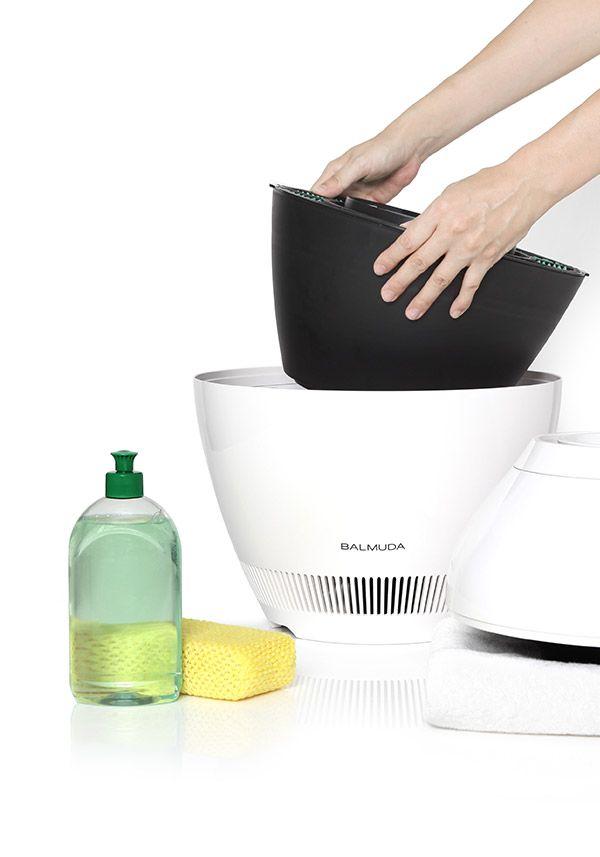 BALMUDA Rain | 給水ボウルは洗剤などで丸洗いすることが可能なので、いつも清潔に使うことができます。加熱式加湿器のようにミネラルやカルキが白く固まってしまうことを防ぎます。