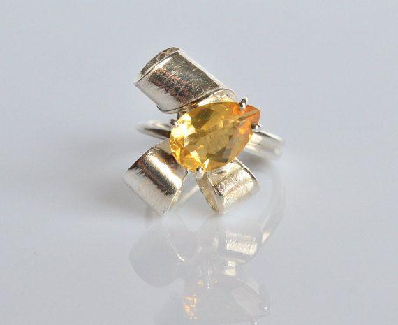 Anello quarzo citrinoanello argento 925anello di VMJewelryDesign