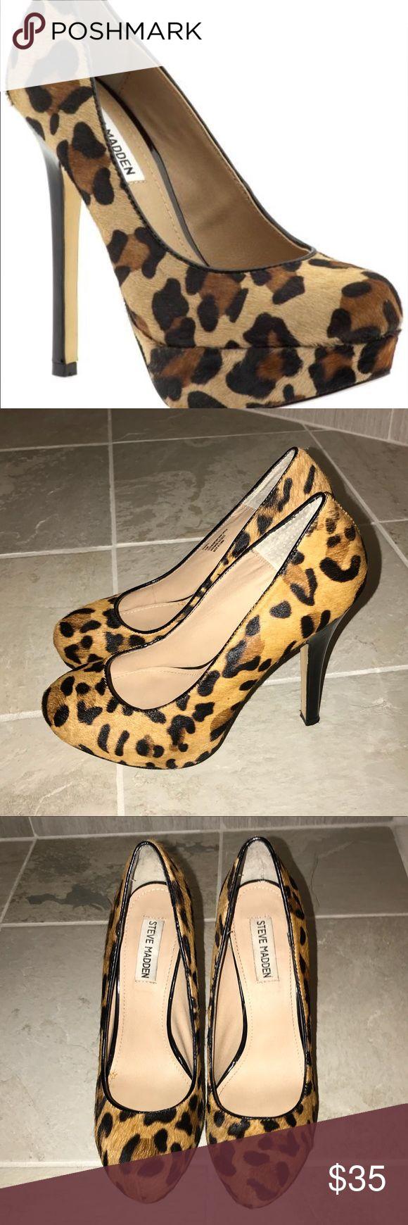 Steve Madden real fur printed leopard pumps