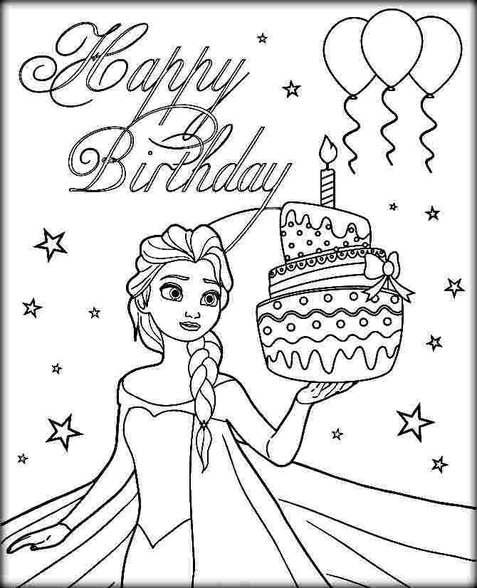 Birthday Present Coloring Pages Happy Birthday Coloring Pages Frozen Elsa And Birthda Happy Birthday Coloring Pages Elsa Coloring Pages Birthday Coloring Pages