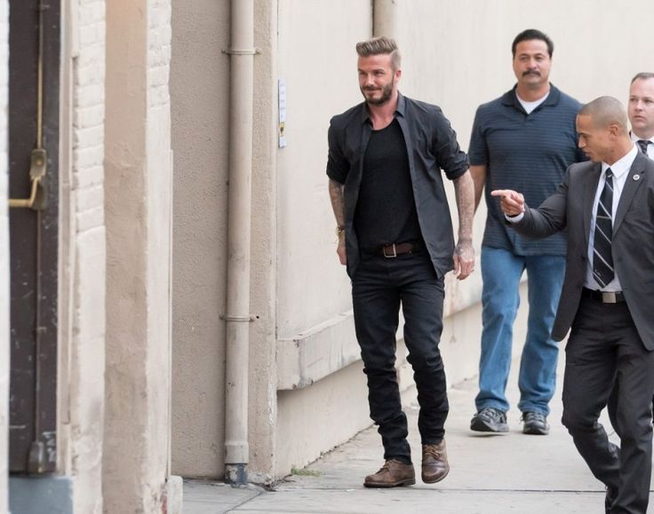 David Beckham is Casual in Black Outfit for Jimmy Kimmel ...  David Beckham i...