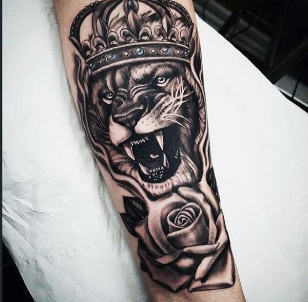 Guys Rose Flower And Lion With Crown Forearm Sleeve Tattoo