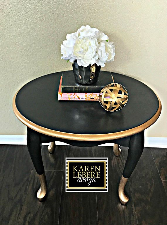 Black Gold Nightstand Side Table End Table Shabby Furniture Gold Leaf Furniture Furniture Makeover