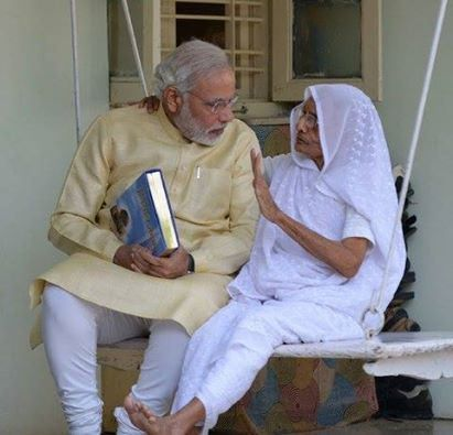 Narendra Modi with his mom
