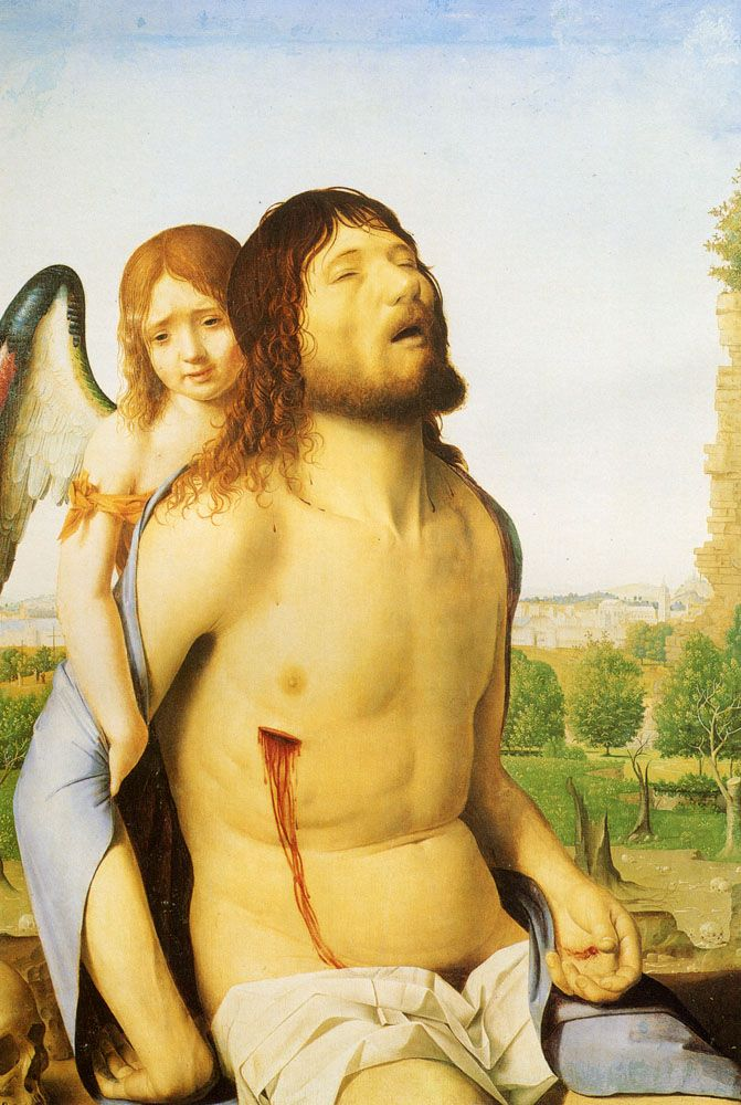 "The Dead Christ Supported By An Angel Oil on board 1450 73.914 x 51.054 cm (29.1"" x 20.1"")"