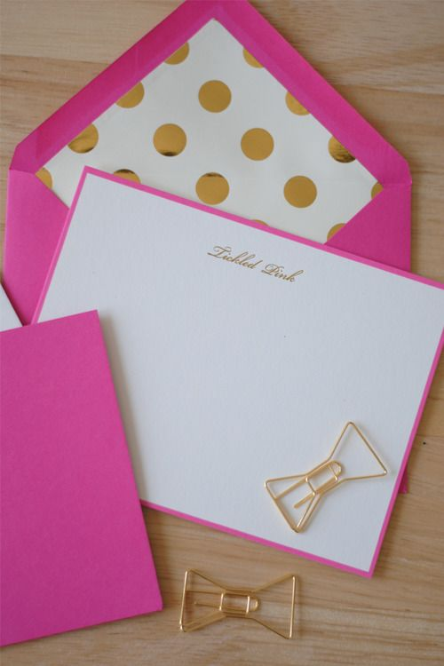 Stationary, Cute, Letters & Envelopes, Bow Paper Clips, Tickled Pink, Pink & Gold, Spots, Bold & Bright