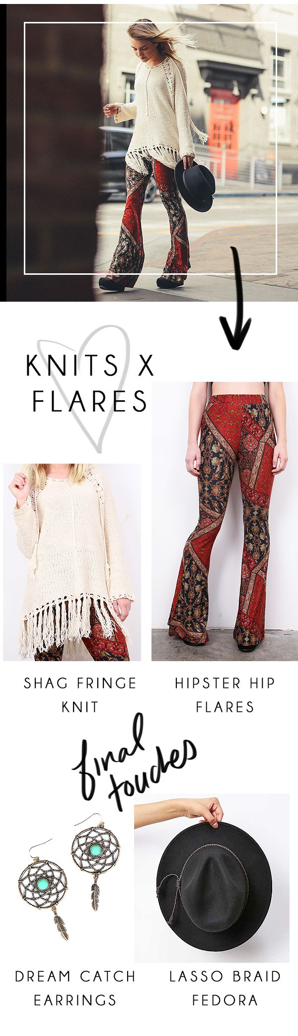Cute knits and flared hipster pants #flaredbottoms #cuteknits #pinkice  http://www.pinkice.com/Search?search=streetstyle