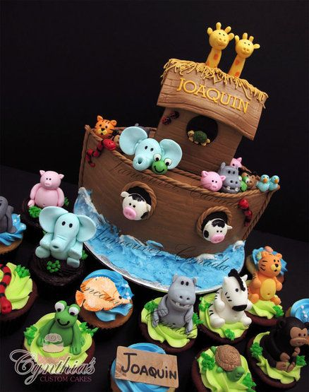 Noah's Ark Cake and Cupcakes - so cute for a baby shower!!