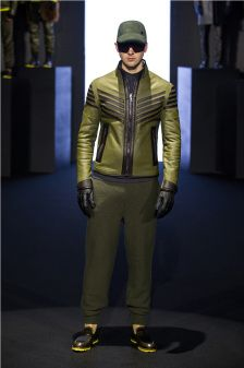 The Dirk Bikkembergs designs are a hybrid and the result of several sources of inspiration: the military, a biker and a skier all seem to mix in the fall-winter 2014-2015 looks.  More on Milan Fashion Week FW 2014 Menswear collections: http://attireclub.org/2014/01/29/milan-fashion-week/
