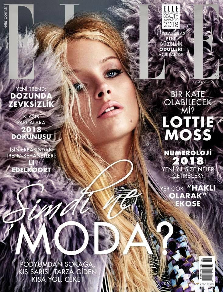 Lottie Moss Elle Magazine Turkey January 2018 Magazine Design Cover Magazine Cover Elle Magazine