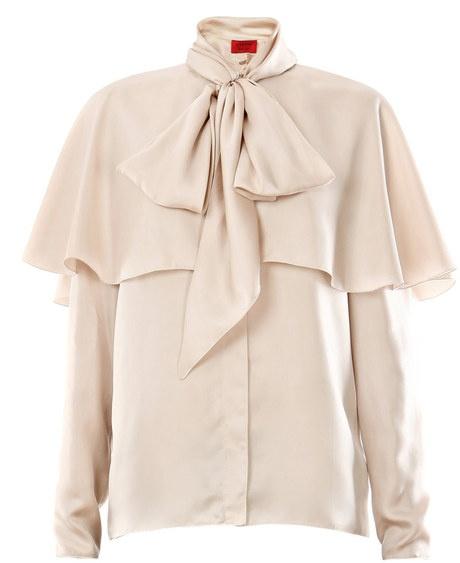 Silk Twill Bow Blouse - Lyst