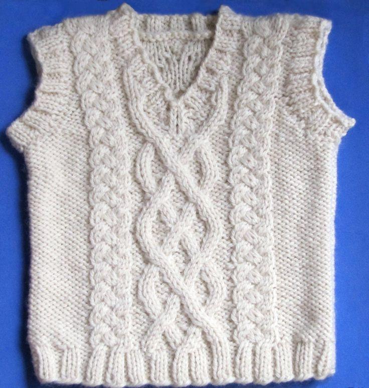 Free Knit Vest Patterns   Little Aran Vest