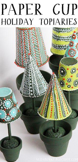 paper cup topiaries