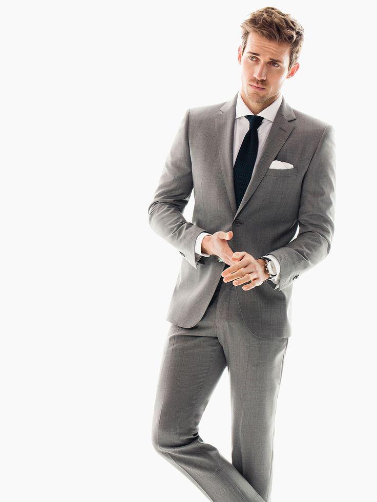 Abito Lana Quadri Slim Fit - grigio per i tuoi appuntamenti di lavoro. Grey for your business meetings