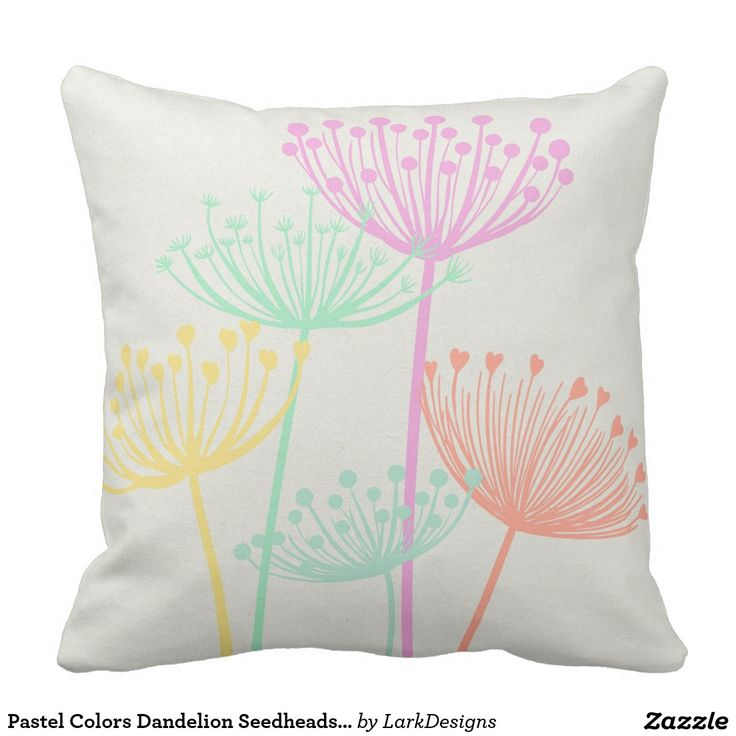 Pastel Colors Dandelion Seedheads Flowers Summer Pillow. An extra large decorative throw pillow perfect for your Summer decor. #zazzle #pillow