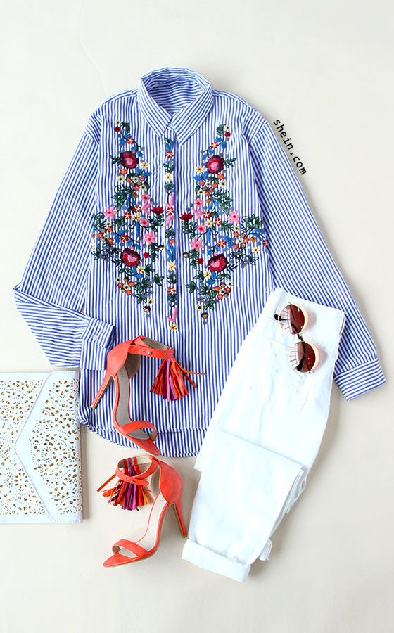 Let's meet in London. Blue  Striped Flower Embroidery  Blouse. By shein.