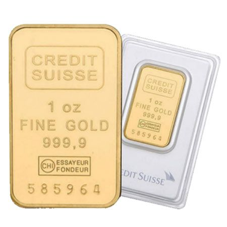 Credit Suisse Gold Bar 1oz. The 1 oz Credit Suisse gold bar is a 24 carat gold bullion bar that has been produced at the Valcambi refinery in Switzerland for more than 40 years. Credit Suisse bars are also available in a 10 oz size.