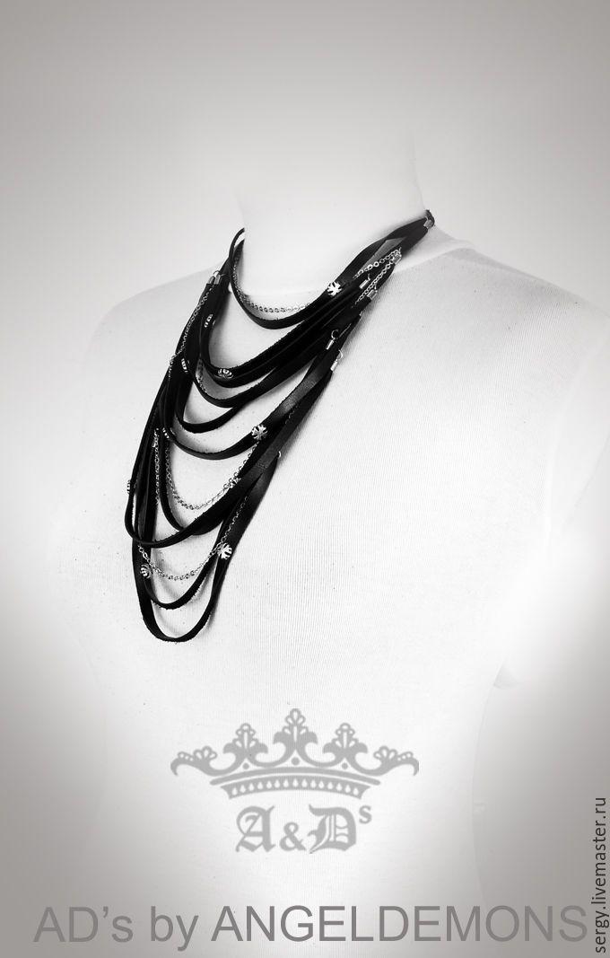Купить Колье Black Lily - черный, колье, бусы, колье ручной работы, колье из кожи