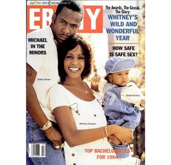 Whitney Houston, Bobbi Brown with daughter Bobbi Cristina | July 1994 Ebony cover